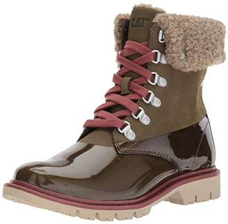 Caterpillar Women's Hub Hiker Lace up Leather Faux Fur Lining Mid Calf Boot