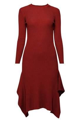 Rumour London - Alexa Asymmetric Ribbed Wool Midi Dress In Burgundy