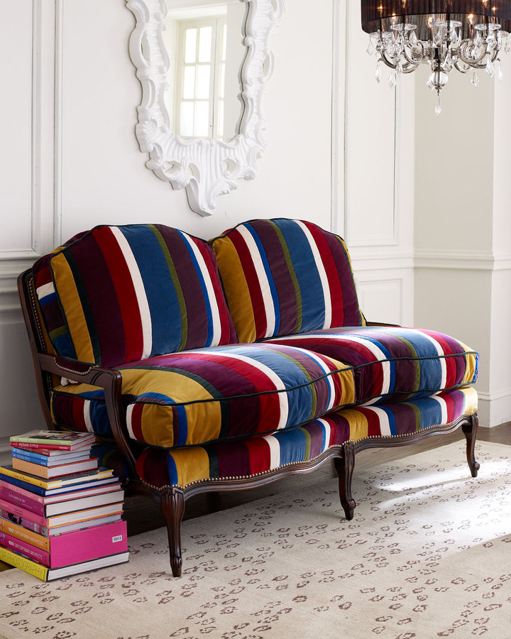 Old Hickory Tannery Patch-Stripe Settee