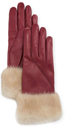Portolano Mario Napa Leather Gloves w/ Mink Fur Cuffs