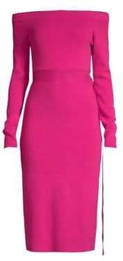 Robert Rodriguez Off-The-Shoulder Knit Midi Dress