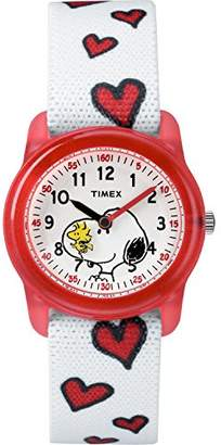 Timex Girls TW2R41600 Time Machines x Peanuts: Snoopy & Hearts Elastic Fabric Strap Watch