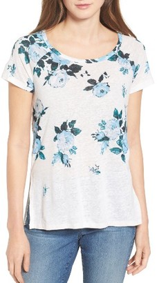 Women's Lucky Brand All Flower Print Linen Blend Tee $39.50 thestylecure.com