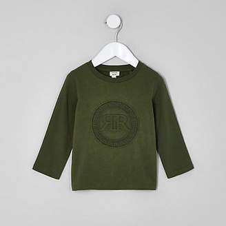 River Island Mini boys khaki green RI embossed shirt
