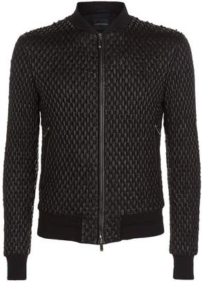 Giorgio Armani Chunky Leather Bomber Jacket