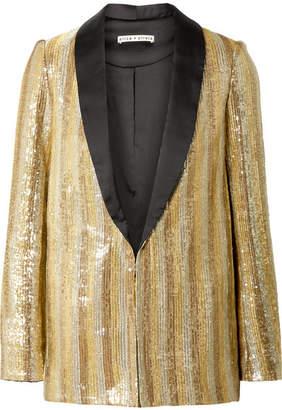 Alice + Olivia (アリス オリビア) - Alice + Olivia - Jace Oversized Satin-trimmed Sequined Cotton Blazer - Gold