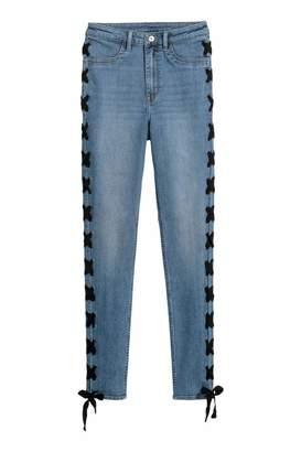 H&M Jeans with Lacing - Denim blue - Women
