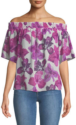 Rachel Roy Off-the-Shoulder Floral-Chiffon Blouse