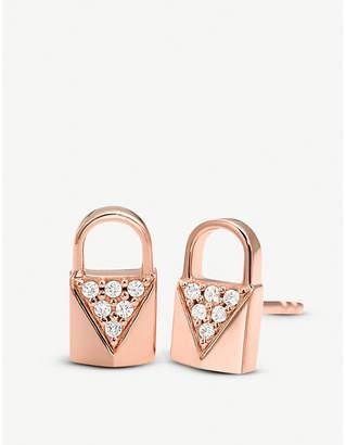 Michael Kors Mercer Link rose gold-plated pave-embellished padlock earrings 408e1735f5ea5