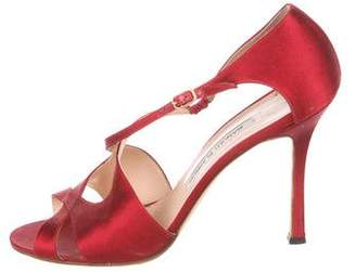 Manolo Blahnik Satin Ankle Strap Sandals