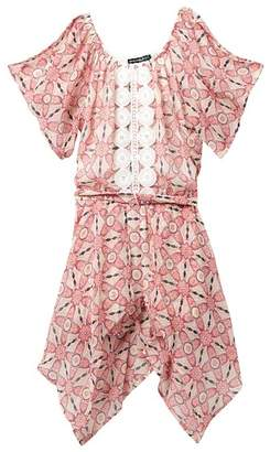 My Michelle mymichelle Printed Flap Front Romper (Big Girls)
