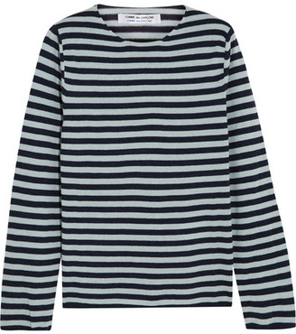 Comme des Garçons Comme des Garçons - Striped Cotton-blend Sweater - Indigo $345 thestylecure.com
