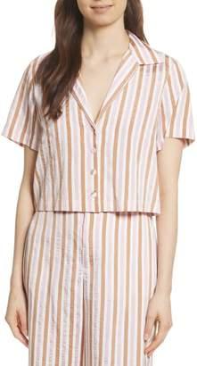 Frame Stripe Mini Crop Shirt