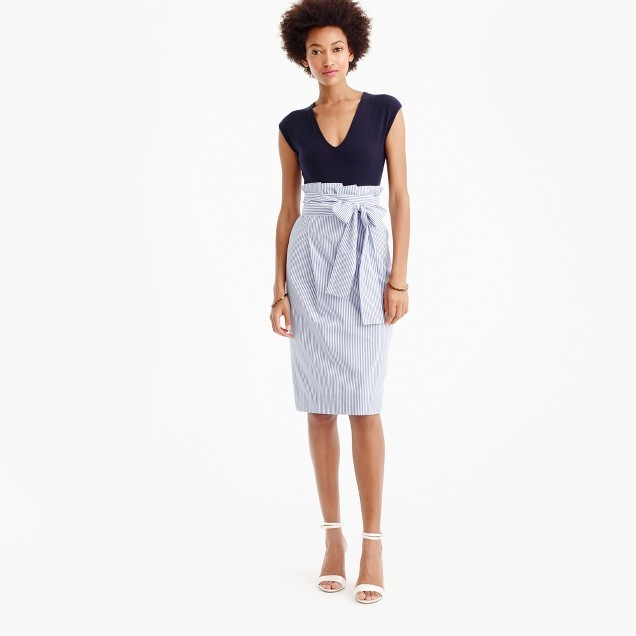 J.CrewPaper-bag skirt in shirting stripe