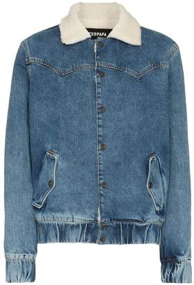 Filles a papa Janis faux shearling collar denim jacket