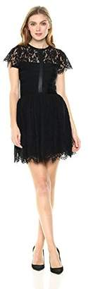 French Connection Women's Shana Spotlight Lace Tulle Short Sleeve Dress,8