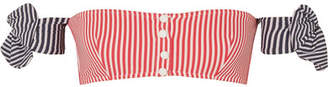 Solid & Striped The Mackenzie Striped Seersucker Bikini Top - Red