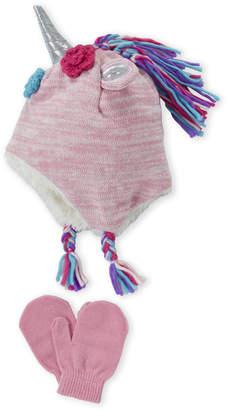 Capelli New York (Toddler Girls) Two-Piece Pink Metallic Unicorn Hat & Gloves Set