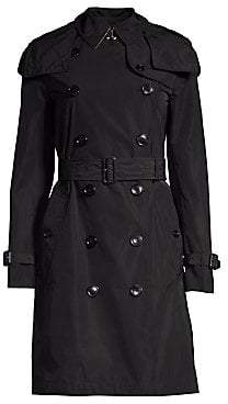 Burberry Women's Kensington Hooded Double-Breasted Trench Coat