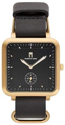 Washington Square Watches Men's Black Strap Black Dial Watch