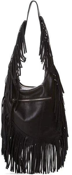 Linea Pelle Janis Fringe Shoulder Bag in Vintage Grey and Vintage Black