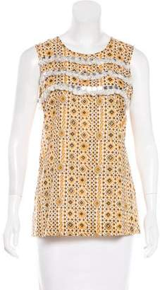 Tory Burch Fringe-Trimmed Printed Top