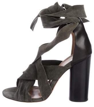 Isabel Marant Suede Wrap-Around Sandals Green Suede Wrap-Around Sandals