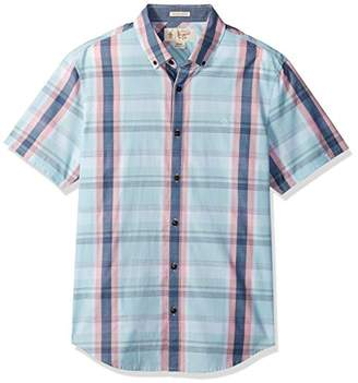 Original Penguin Men's Short Sleeve Slub Plaid Button Down Collar Shirt