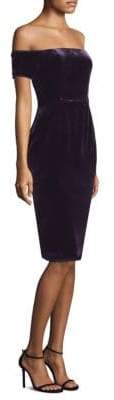 BCBGMAXAZRIA Off-The-Shoulder Velvet Sheath Dress