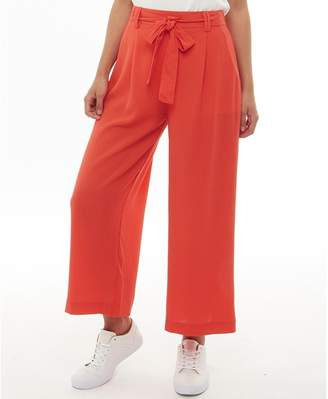 Brave Soul Womens Danes Tie Up Waist Woven Trousers Coral Red