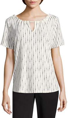 WORTHINGTON Worthington Short Sleeve Keyhole Neck T-Shirt-Womens