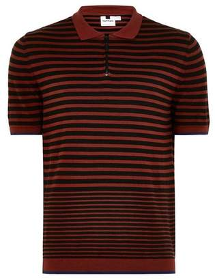 Topman Mens Brown Rust Short Sleeve Zipped Polo