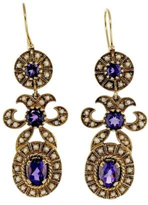 14K Yellow Gold Amethyst Pearl Pendant Dangle Earrings