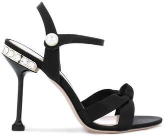 embellished knot-front sandals