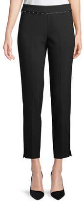 Emporio Armani Stretch-Jersey Straight-Leg Crop Pants w/ Beaded Ribbon Trim