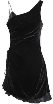 Cinq à Sept Asymmetric Satin-Trimmed Ruched Velvet Mini Dress