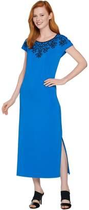 Bob Mackie Bob Mackie's Embroidered Dolman Sleeve Knit Maxi Dress