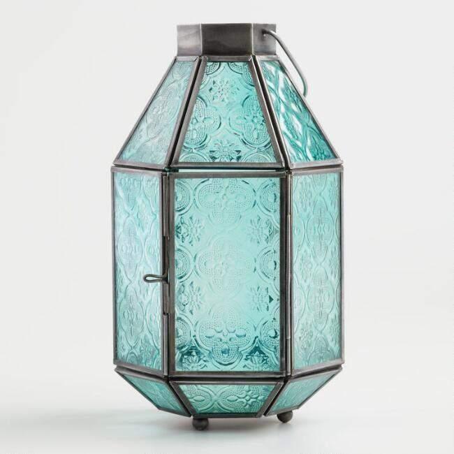 Medium Jade Green Embossed Glass Tabletop Lantern