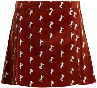 Chloé Horse-embroidered velvet mini skirt