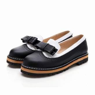 Smakke Big Size 34-43 Spring Autumn Slip On Flat Women Shoes Cute Bowtie Lace Shallow Mouth Ladies Platform Shoes 8.5