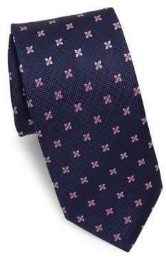 Eton Navy Tie With Pink Flowers