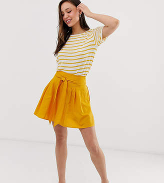 Asos Tall DESIGN Tall tie front mini skirt in cotton