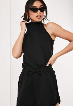 Missguided Black High Neck Jersey Romper