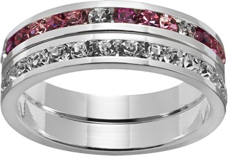 Swarovski Traditions Silver-Plated Crystal Eternity Ring Set