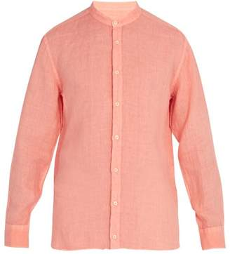 120% Lino Long Sleeved Linen Shirt - Mens - Orange