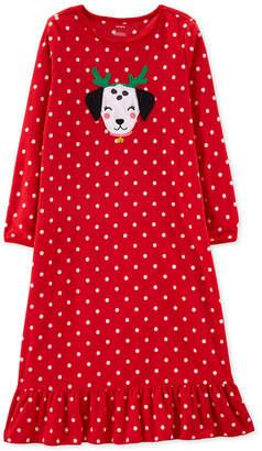 Carter's Carter Little & Big Girls Dot-Print Fleece Nightgown