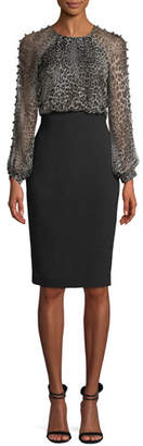 Badgley Mischka Leopard Dress w/ Button Sleeves
