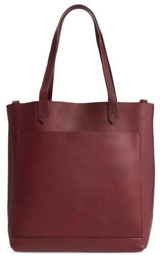Madewell Medium Leather Transport Tote - Burgundy