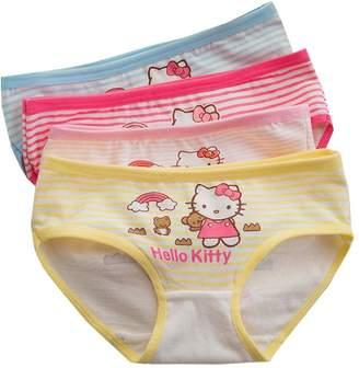 Hello Kitty YUMILY 2-8 Years Girls Character Hellokitty Briefs Panties Striped Underwear 4 Pack