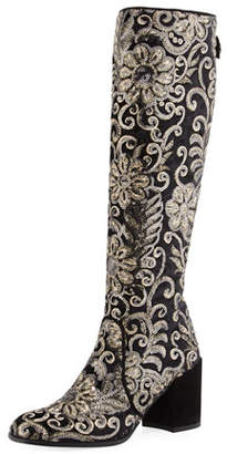 Stuart Weitzman Suburb Embellished Knee Boot, Black